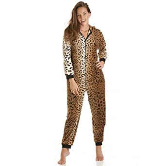 Camille Womens Ladies Gold Leopard Cat All In One Onesie Fleece Pajamas 4-18 12/14