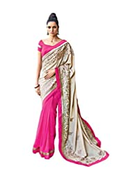 Anvi Creations Cream Pink Embroidered Georgette Satin Saree (Cream_Free Size)