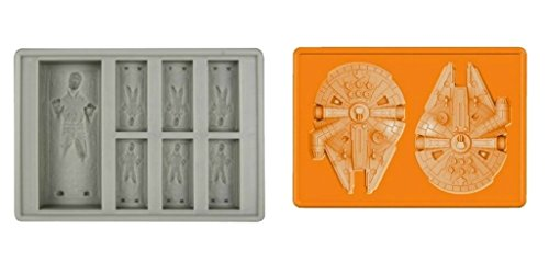 Set of 2 Star Wars Silicone Ice Trays / Chocolate Molds: Han Solo and Millennium Falcon