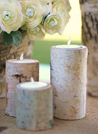 Birch Bark Candle Holders Rustic Home Decor by MHD Craft
