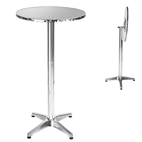 TecTake-Aluminium-Bistrotisch-klappbar-rund-hhenverstellbar-74cm-oder-114cm--60cm-Standrohr--58-cm-83-kg