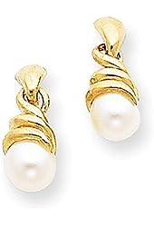 14k Swirl FW Cultured Pearl Earrings