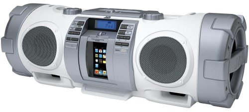 JVC RV-NB51 CD Portable Boomblaster with Integrated iPod Dock and Twin Subwoofer - White