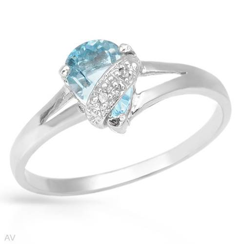 Ring With 0.90ctw Precious Stones - Genuine Diamonds and Topaz Crafted in 925 Sterling silver (Size 7)
