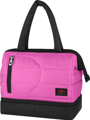 Thermos Aspen Dual Lunch Compartment Duffle with Purse Design Insulated Lunch Bag Cooler (Pink) - 1