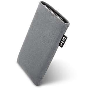 fitBAG Classic Grau Handytasche Tasche aus original Alcantara mit Microfaserinnenfutter für Apple iPhone 5 / 5S 16GB 32GB 64GB