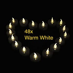Weanas® 24pcs LED Tealights Candles Tea Light Warm White with Timer Timing Replaceable Coin Battery Flickering Flameless Two Dozen Lot 24 for Emergency Christmas Birthday Wedding Party