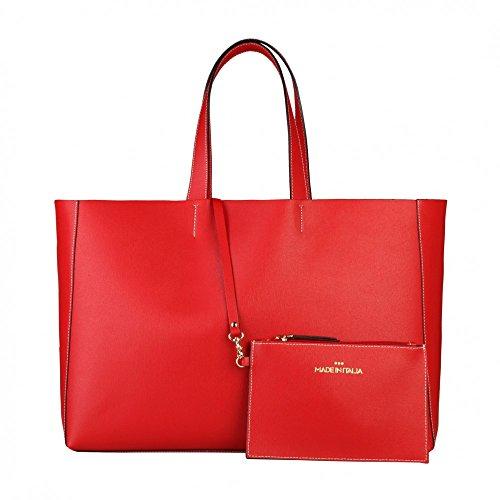 Made In Italia - Borsa Shopping Bag Realizzata In 100% Pelle Saffiano Con Due Manici Rosso