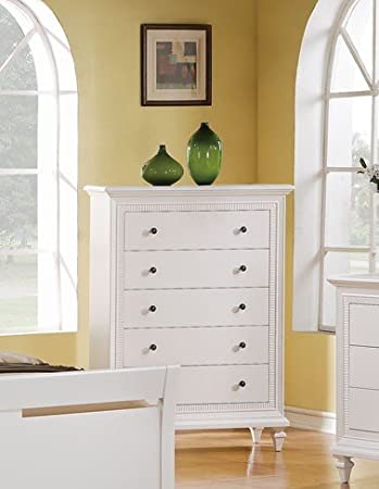Contemporary white chest w/ nickel knobs By Poundex