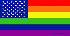 Rainbow American Flag with Field of Hearts Mini Magnetic Bumper Sticker
