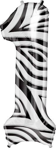 "Zebra Stripe Number One ""1"" Mylar Balloon - 34"" Inch"