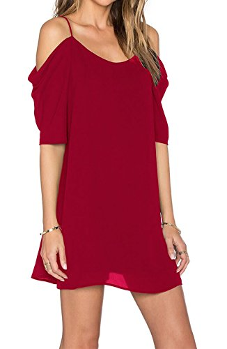 Chiffon Cut Out Cold Shoulder Trumpet Sleeve Spaghetti Strap Dress Top, Small Red