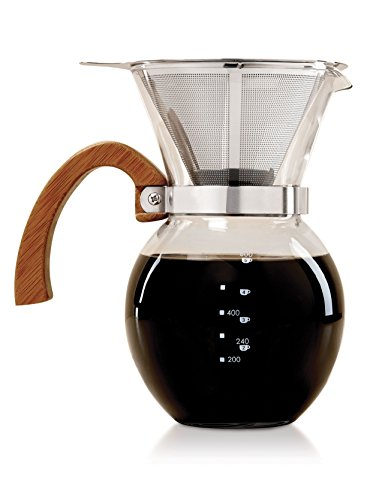 HIC Pour-Over Coffee Maker Borosilicate Glass with Bamboo Handle Stainless Steel Filter, 22 oz, Clear