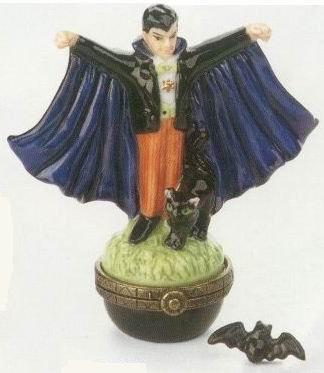 Dracula / Vampire Porcelain Hinged Box with Bat Trinket Box