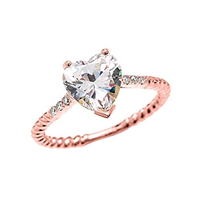 3 Carat Heart Cubic Zirconia 10k Rose Gold Promise Ring