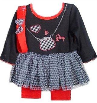 "Black And Red ""I Love To Shop"" Tutu & Legging Set (0-3 Month) - D13135"