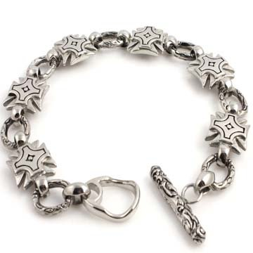 14MM LARGE HARDEN STAINLESS STEEL SILVER MECHANIC CHOPPER CROSS MOTORCYCLE BRACELET-(9in-10in) (9 Inches)