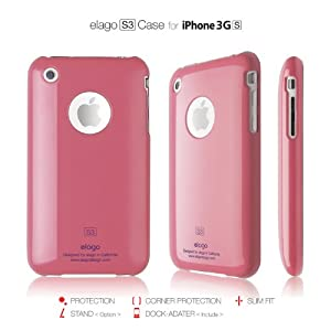 elago S3 Case for iPhone 3G/3GS (High Glossy)-Hot Pink + Universal Dock Adapter included
