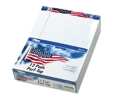 "TOPS American Pride Writing Tablet, 8-1/2"" x 11"", Legal Rule, White"
