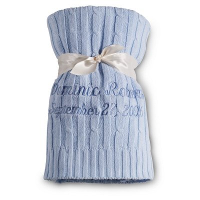 Personalized, Embroidered Knit Baby Blanket-Blue front-284298