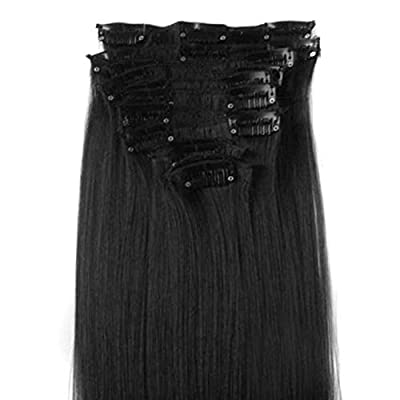 "DuaFire Free 22"" 12pcs Full Head Clip in Synthetic Hair Extensions Straight NEW (#01-jet black)"