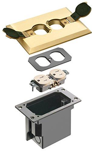 Arlington Industries FLBRF101MB-1 Metal Retrofit Electrical Floor Box with Flip Lids for Existing Floors, Brass, 1-Pack