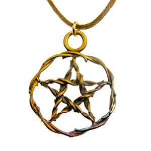 Pentacle Iridescent Pendant Necklace on Adjustable Natural Fiber Cord