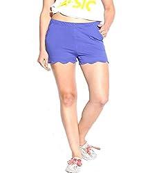 Espresso Solid Women's Basic Shorts-ROYAL BLUE