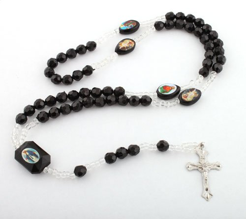 Black Jesus Rosary Cross Pendant & Mother Mary with a 36 Inch Beaded Chain Necklace