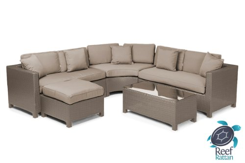 Reef Rattan Barcelona 5 Pc Sectional Sofa Set - Natural Rattan / Taupe Cushions image