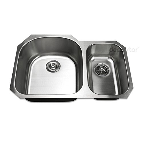 Decor Star P-007-B2 31 1/2 Inch Undermount 70/30 Offset Double Bowl 18 Gauge Stainless Steel Kitchen Sink cUPC, Grid, and Strainer Combo