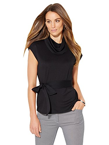 New York & Co. Women's - Draped-Neck Belted Top Xxlarge Black (New York And Company Tops compare prices)