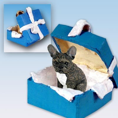 Conversation Concepts French Bulldog Gift Box Blue Ornament (Bulldog Blues compare prices)
