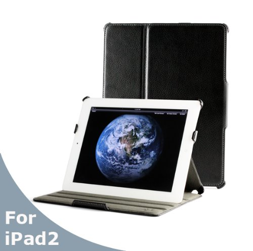 AYL (TM) 5-in-1 High Quality Premium Slim Leather Case Folio with built-in Stand for Apple iPad 2 2nd Generation Tablet/wifi 3G Model 16gb, 32gb, 64gb (Black)