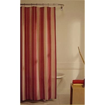 Chandler Stripe Fabric Shower Curtain Cranberry Beige Gold