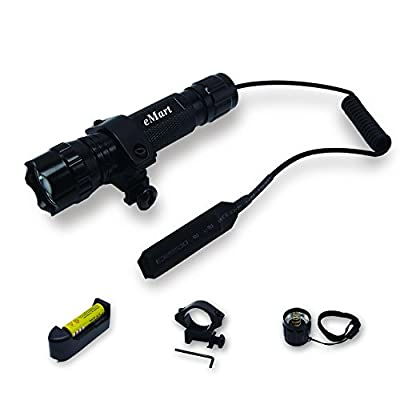 eMart WF-501B XM-L T6 1000 Lumens Riding Bicycle Bike Hunting LED Flashlight Torch Tactical Flash Lights Lamp + Gun Mount + Remote Pressure Switch + 1 x 18650 Rechargeable Battery + Battery Charger from Emart Tech