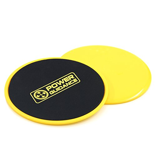 Set of 2 Core Sliders - Dual Sided Gliding Discs by POWER GUIDANCE - Use on Carpet or Hardwood Floors - Great for Core Training & Home Workouts