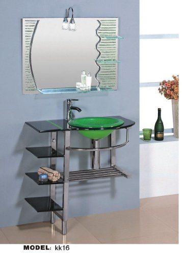 30 in Bathroom Vanities Pedestal Glass and Sink Combo W Faucet