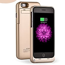 iPhone 6S Battery Case - iPhone 6 Battery Case, 3200mAh Portable External Battery Backup Charging Case Pack Power Bank for iPhone 6s /6 4.7 inch (Pink-Golden)