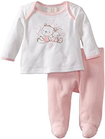 ABSORBA Baby-Girls Newborn Two Piece Footed Pant Set, Pink, 0-3 Months