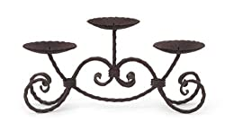"17"" Brown Rustic Scroll Design Iron Three-Pillar Candle Holder Stand"