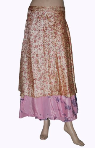 Pretty Look Multi Wear Shiny Reversible Two Layer Recycled Rayon Silk Sari Wrap around Skirt