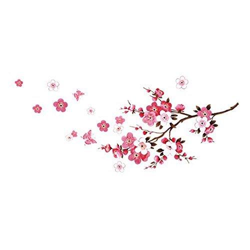 RRRLJL DIY Removable Vinyl Cherry Blooms Tree Branch Wall Decor Decal Japanese Sakura Wall Art Stickers