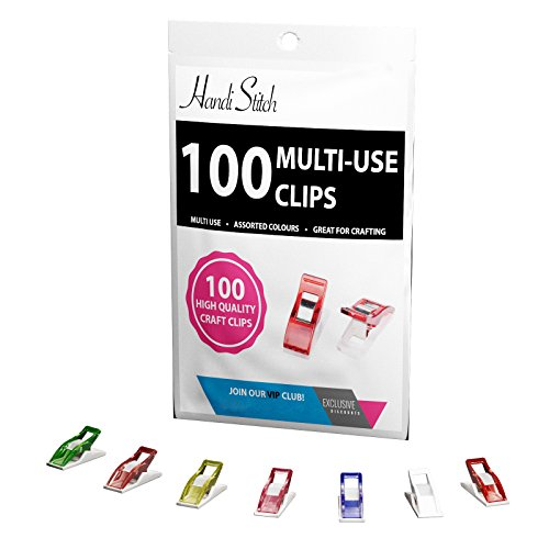 Sewing Clips - Premium 100 Pack Multipurpose clips (Sewing, Quilting, Crocheting, Knitting, Craft and Art Works..) in Assorted Vibrant Colors - 100% Money Back Guarantee by Handi Stitch
