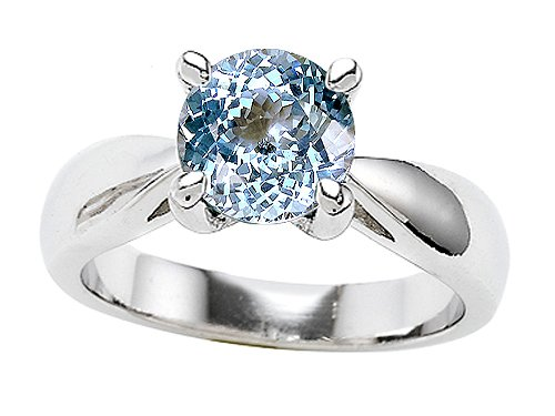 Original Star K(tm) 7mm Round Simulated Aquamarine Engagement Ring in .925 Sterling Silver Size 8