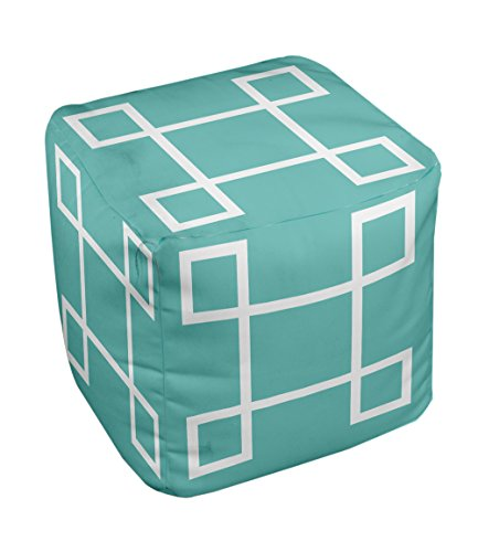 E by design Geometric Pouf, 13-Inch, 1Jade