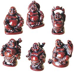 LAUGHING BUDDHA - STATUES - 6 FIGURINES SET - RED