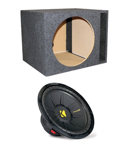 "Kicker 40Cws154 15"" 1200W Power Car Subwoofer + Single Vented Sub Box Enclosure"