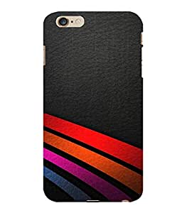 printtech Leather Stripes Colored Design Back Case Cover for Apple iPhone 6 Plus