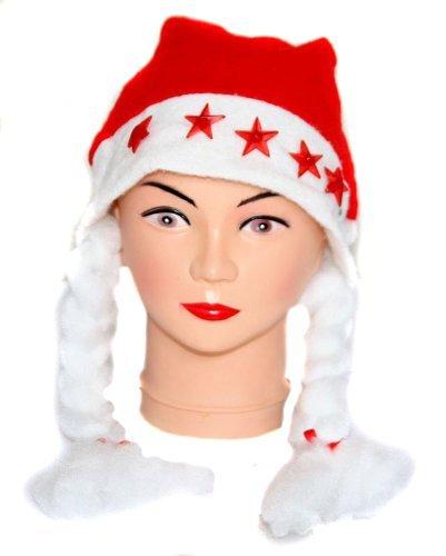 Bonnet-de-pre-noel-rouge-avec-tresses-blanches-et-5-LED-rouges-en-toiles